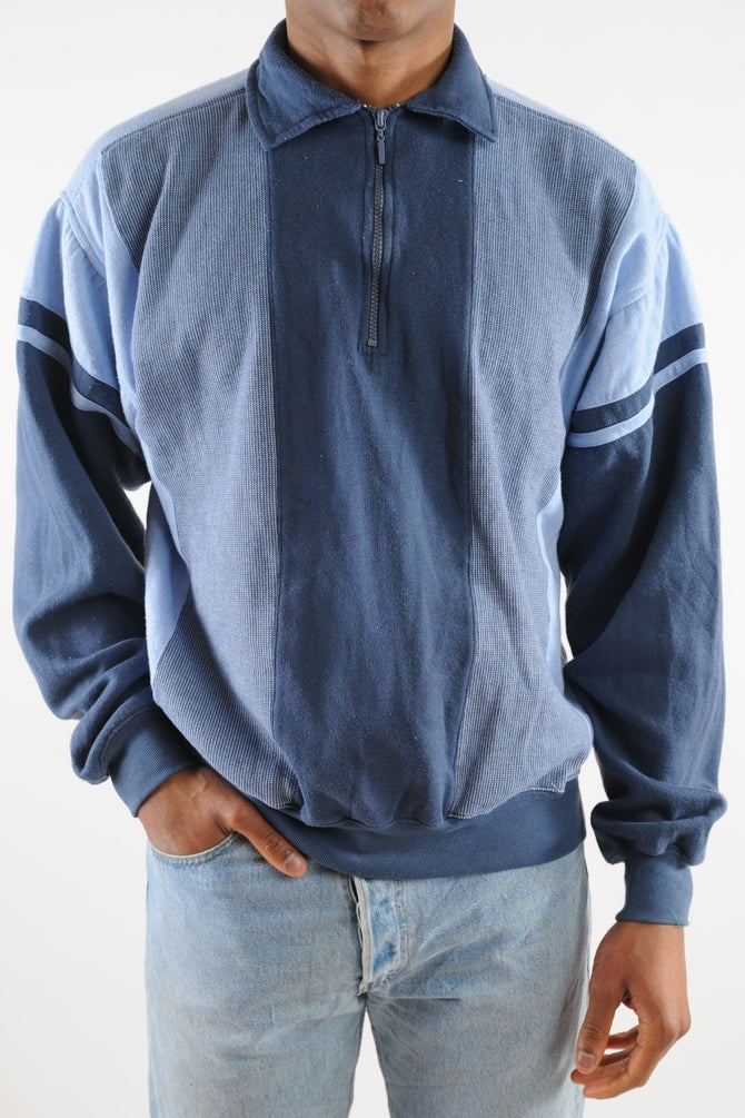 Blue Striped Collared Sweatshirt