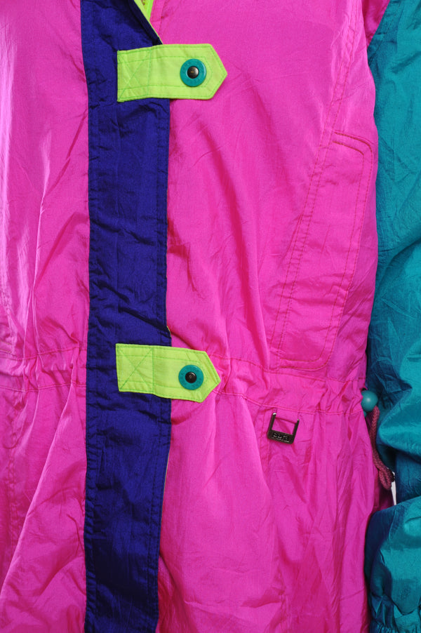 Pink Colorblock Puffer Jacket