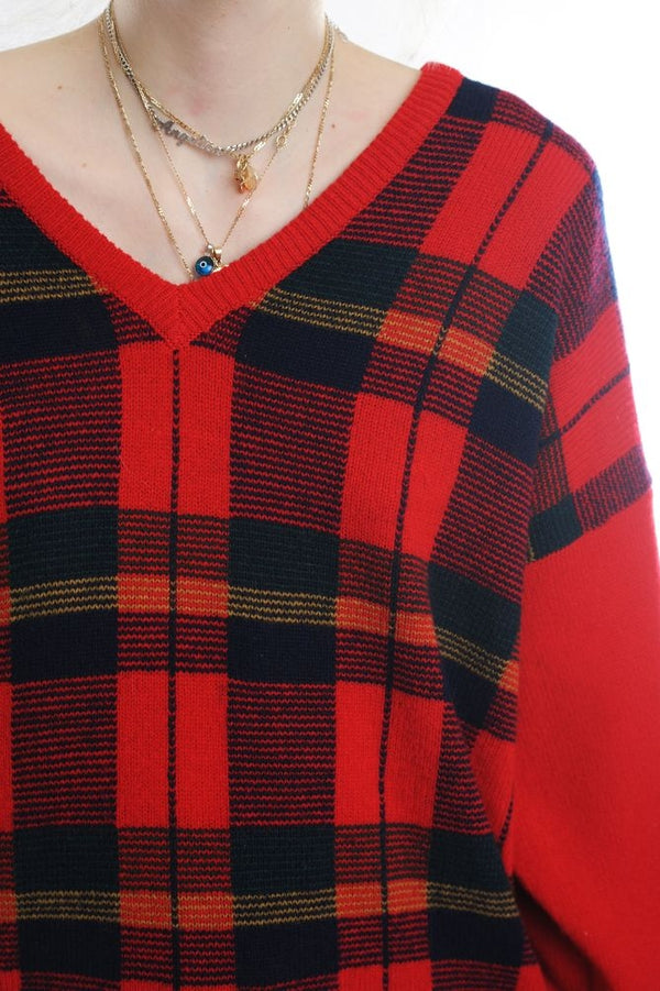 Red Plaid Wool Sweater