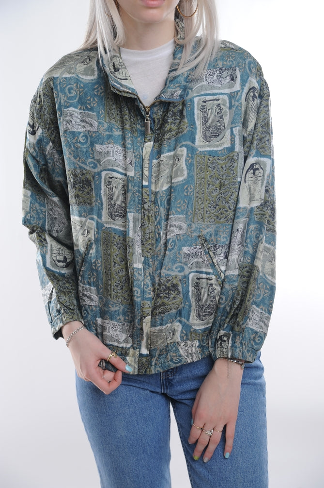 Printed Silk Windbreaker