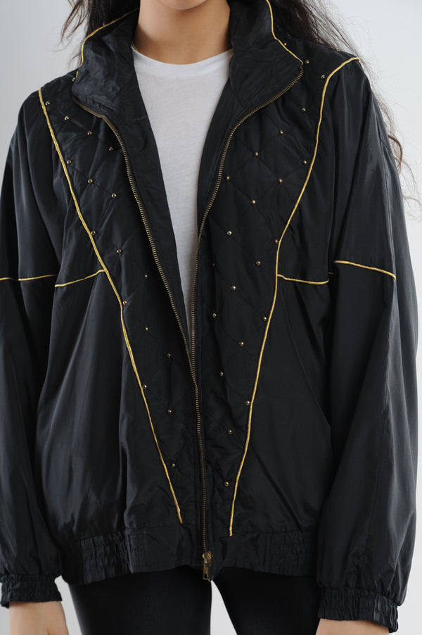 Black Embellished Windbreaker