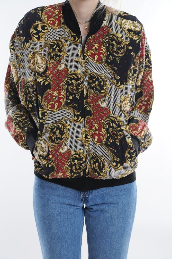 Baroque Patterned Silk Windbreaker