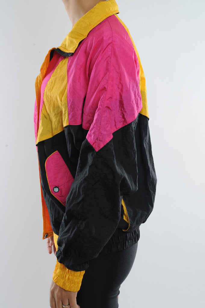 Black and Pink Colorblock Windbreaker