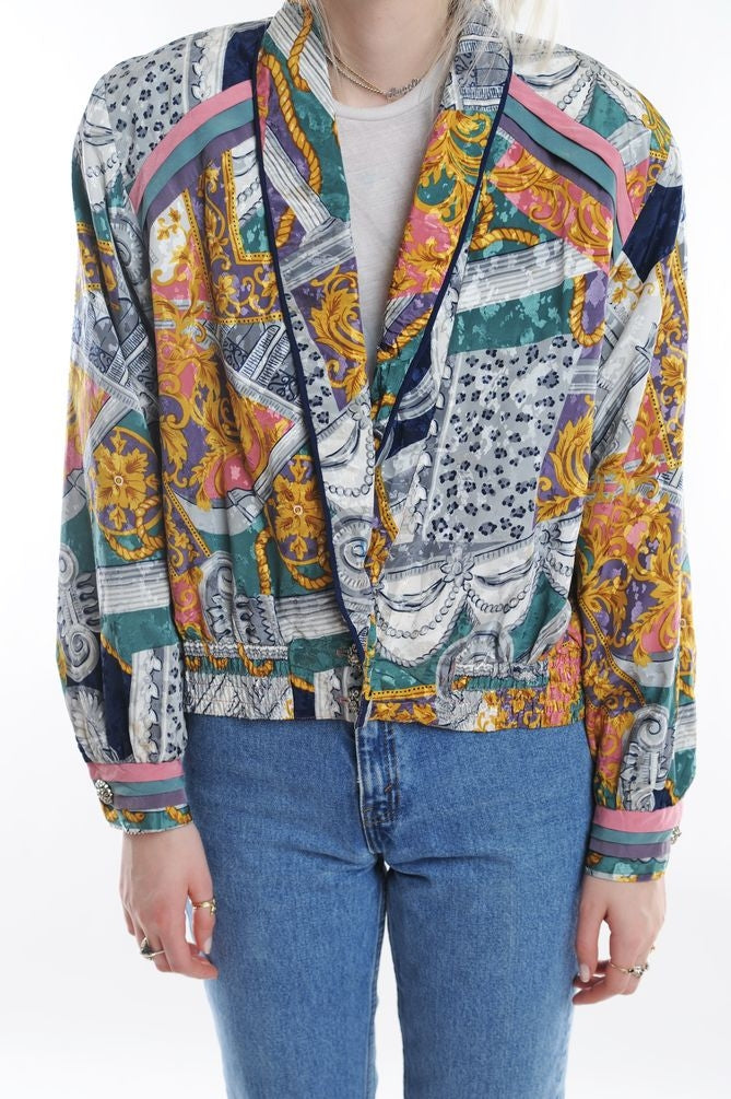 Baroque Print Silk Windbreaker