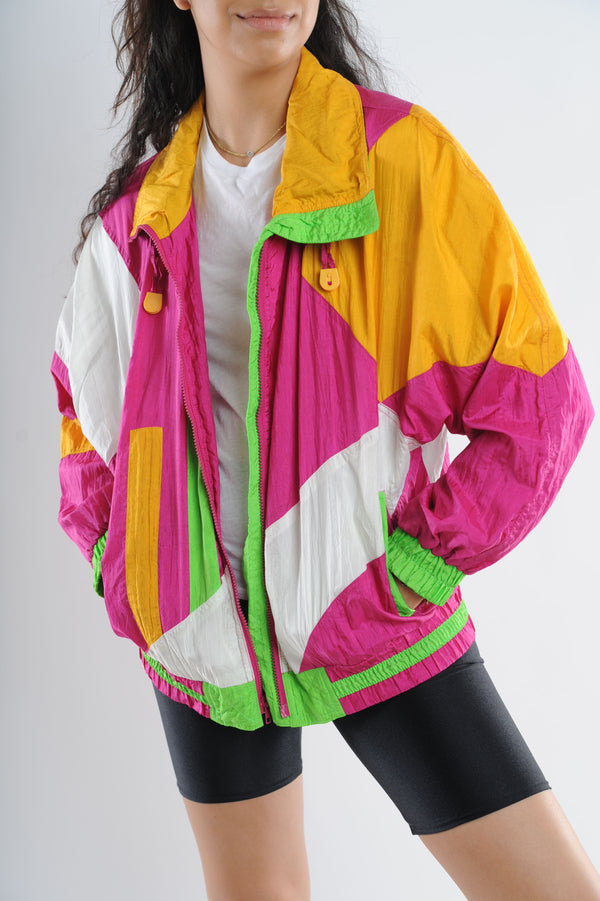 Pink Colorblock Windbreaker
