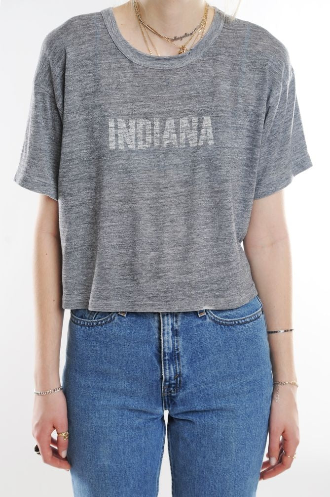 Gray Cropped Indiana Tee