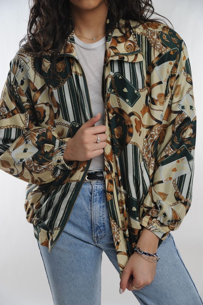 Card Print Silk Windbreaker