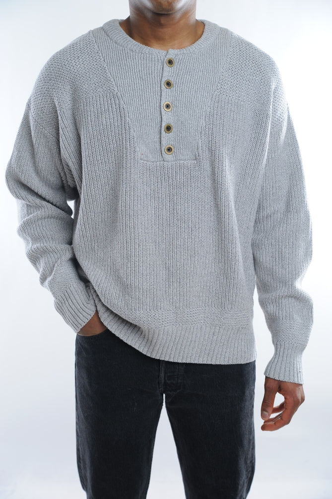 Gray Button Collar Sweater