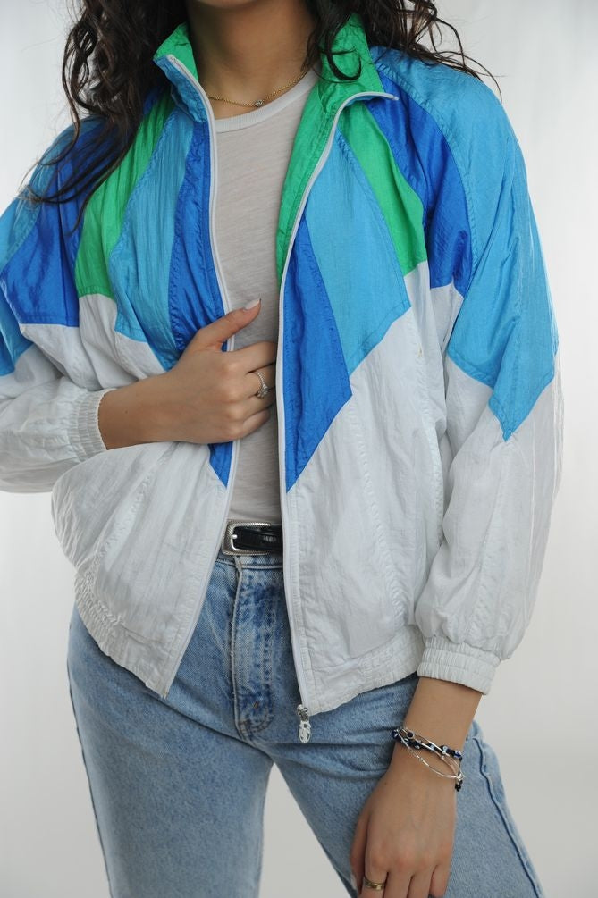 Blue and Green Colorblock Windbreaker