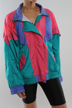 Teal Colorblock Windbreaker