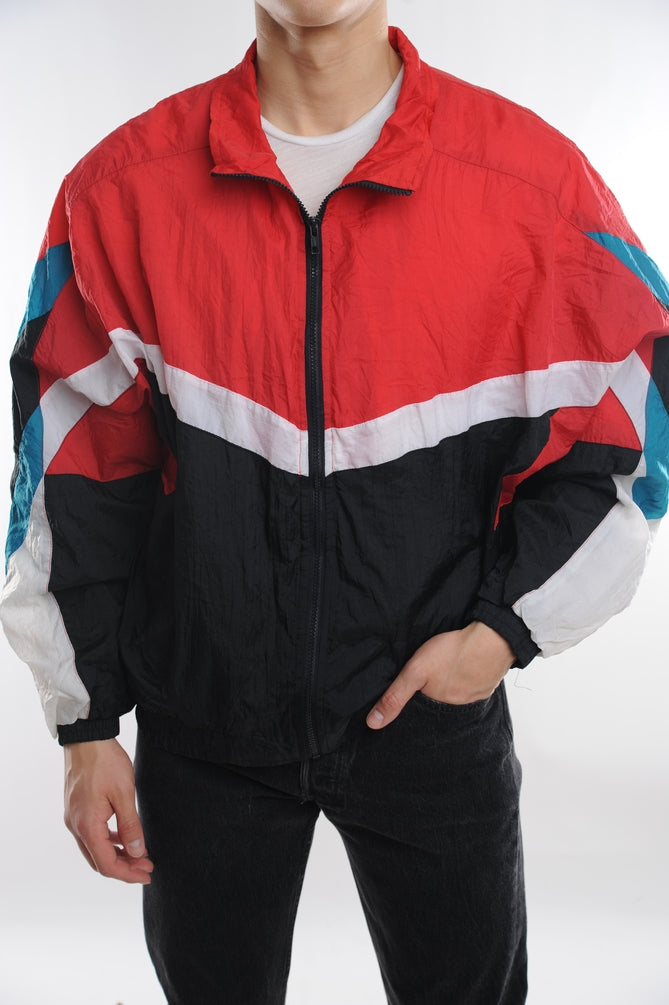 Red Colorblock Windbreaker