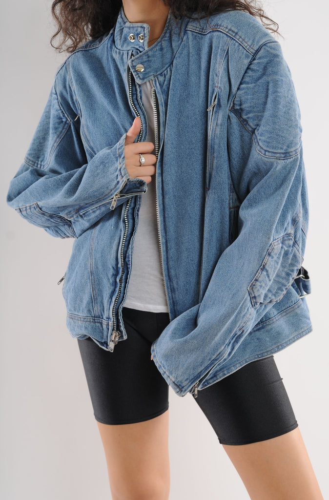 Zip Up Denim Bomber Jacket