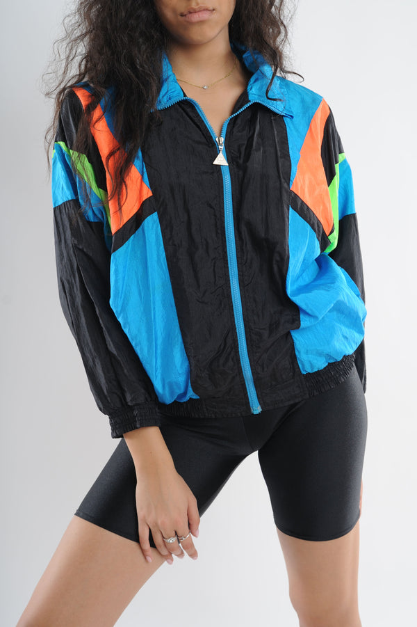 Black Colorblock Windbreaker