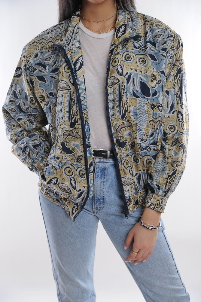 Blue Abstract Silk Windbreaker