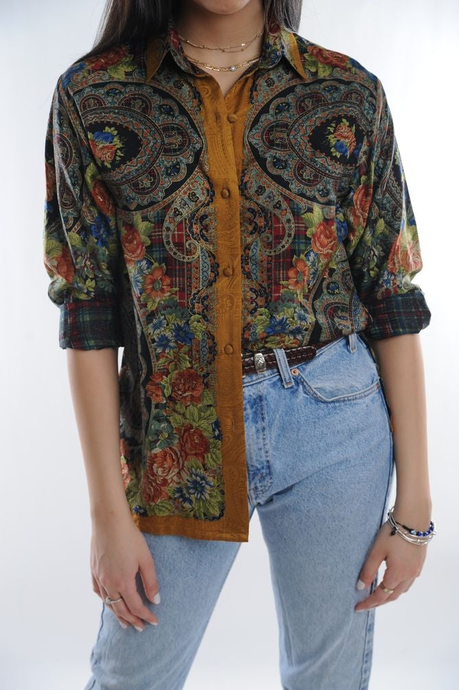 Multi Floral Silk Button Down