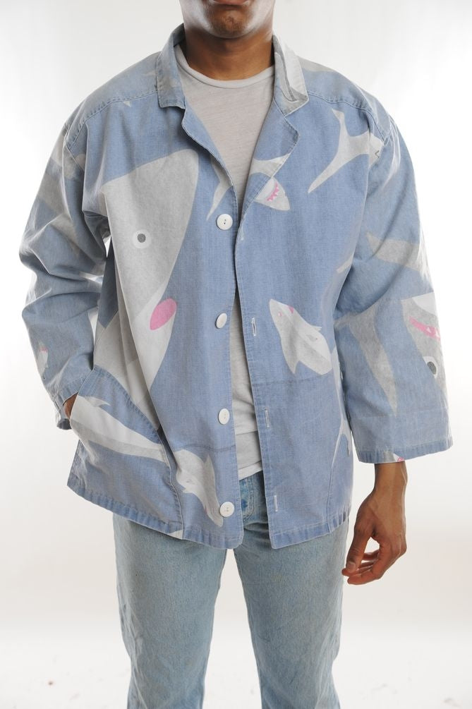 Shark Print Button Down