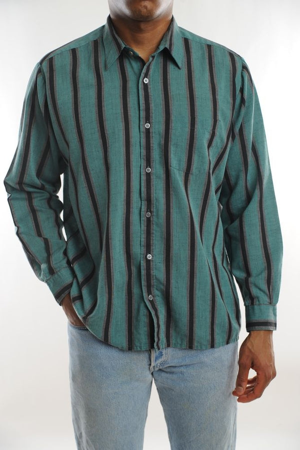 Green Striped Button Down