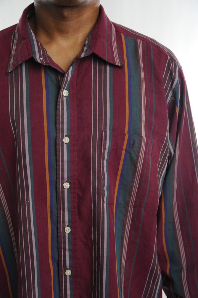 Maroon Striped Button Down