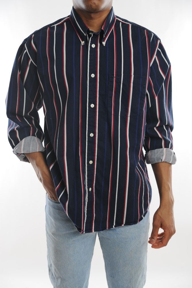 Navy Striped Button Down