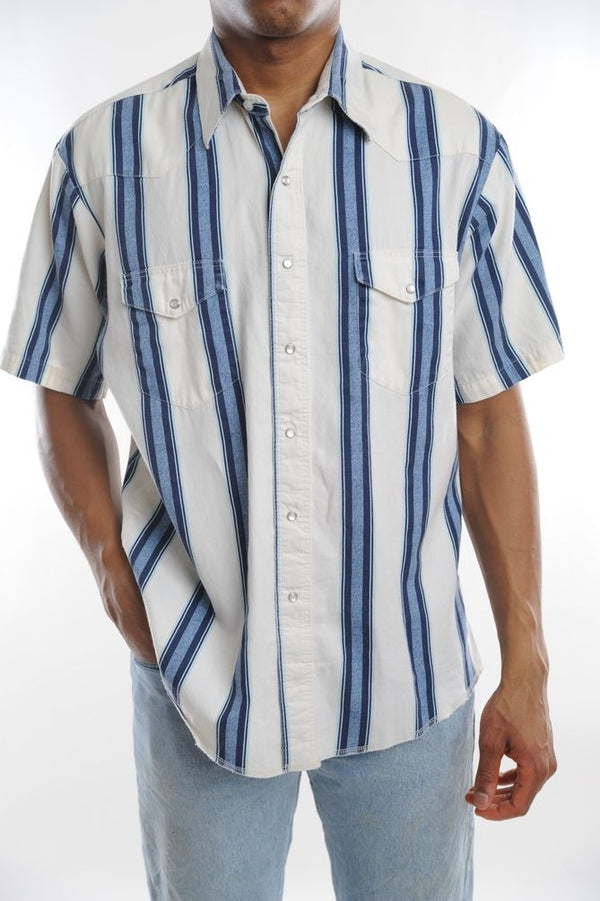 Wrangler White Striped Button Down