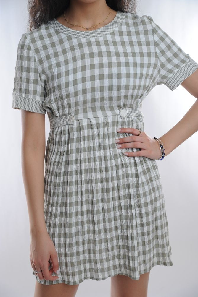 Gray Checkered Mini Dress
