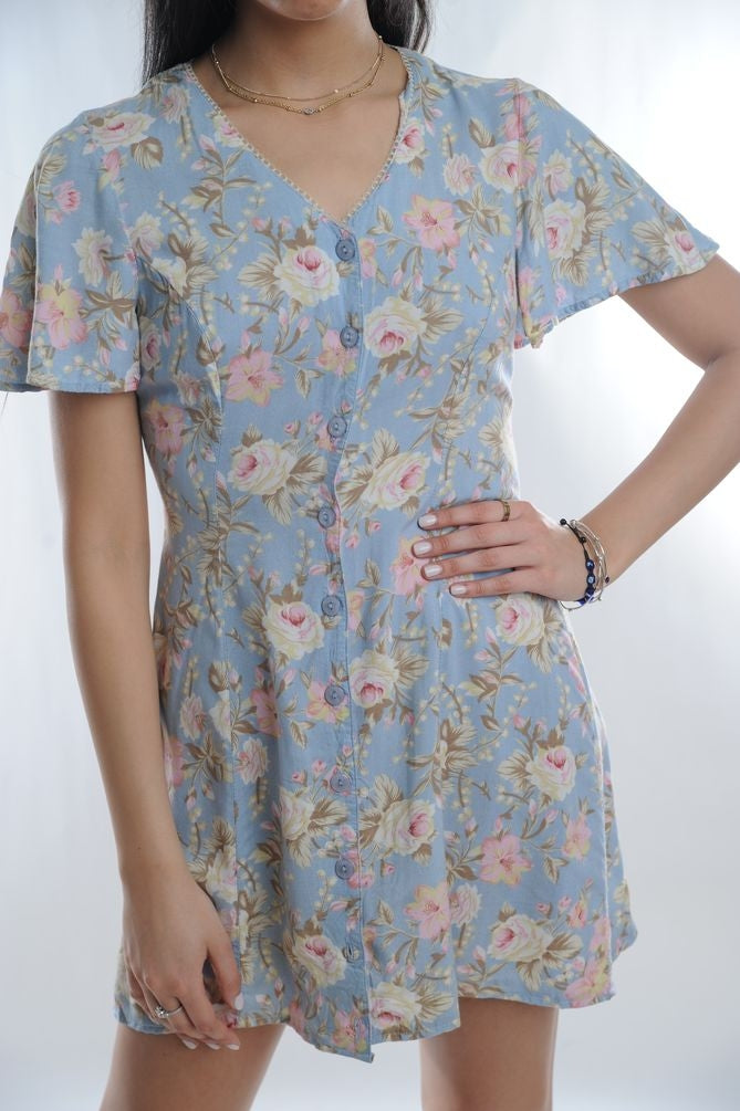 Blue Floral Mini Dress