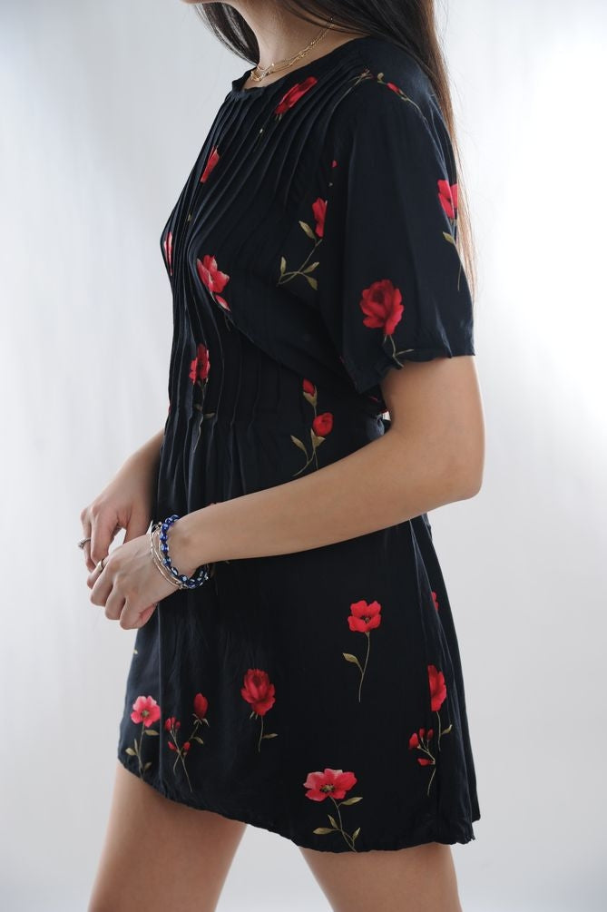 Black Floral Mini Dress