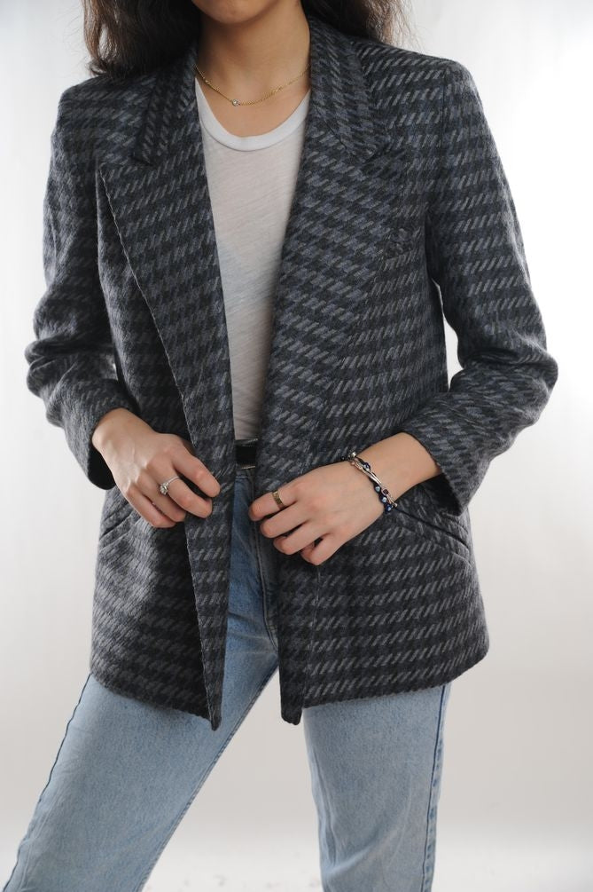 Gray Houndstooth Wool Blazer
