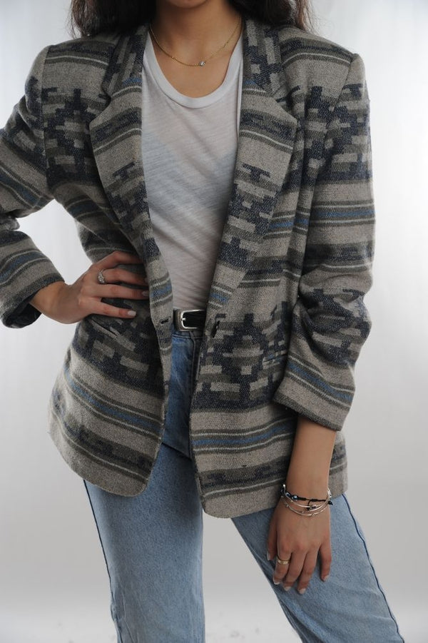 Gray Geometric Wool Blazer