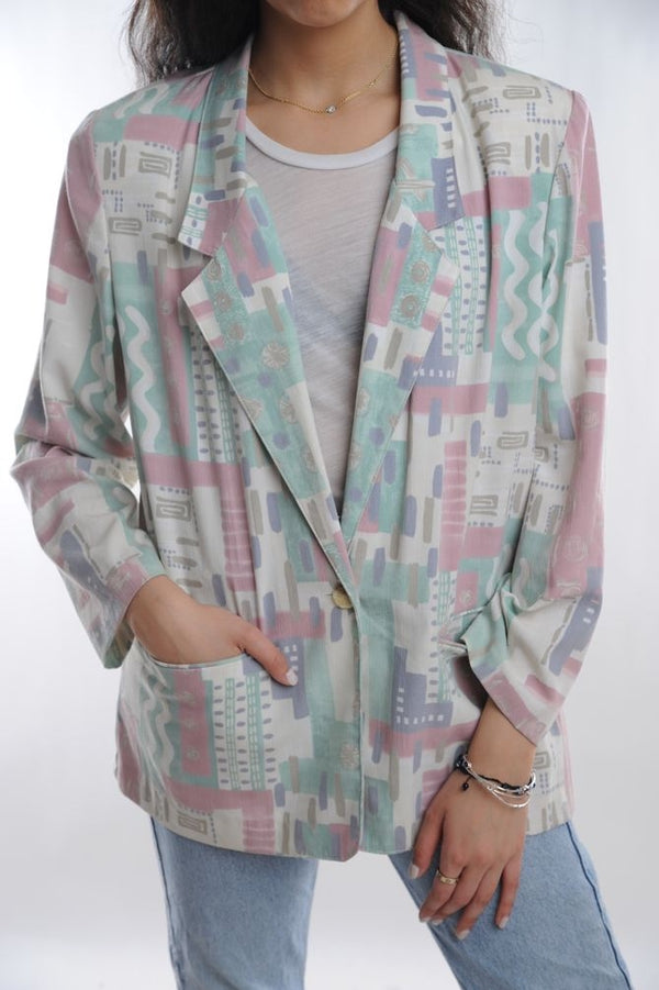 Pastel Abstract Blazer