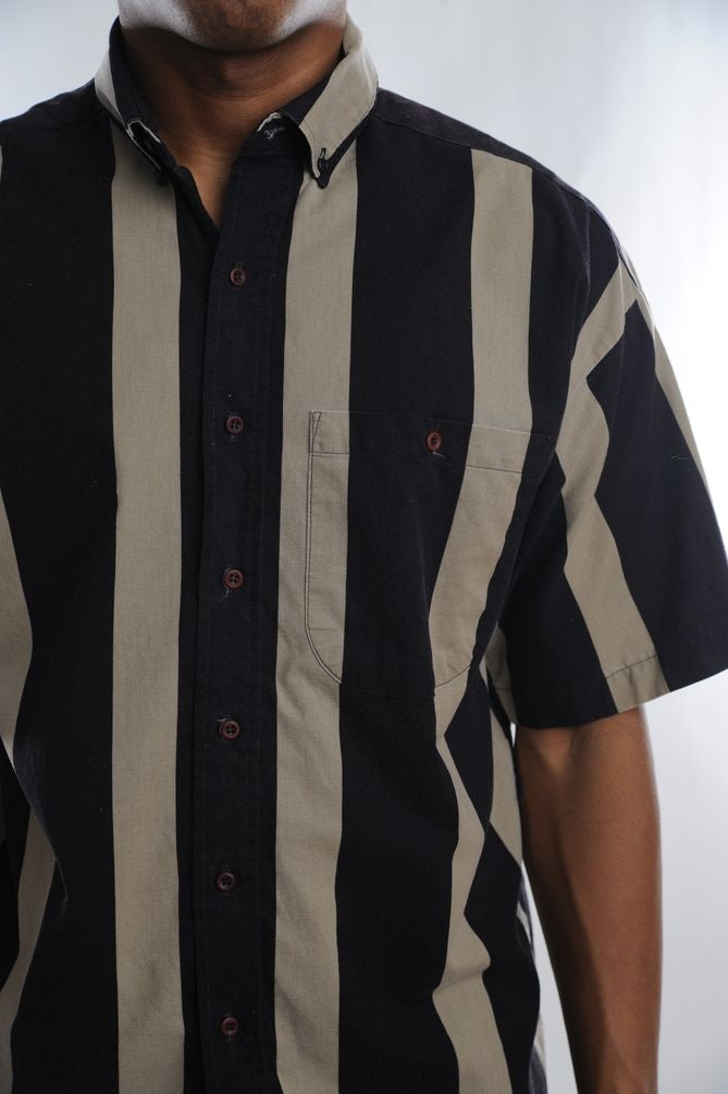 Black Striped Button Down