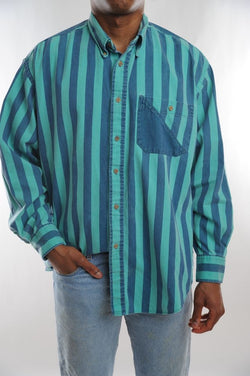 Teal Striped Button Down