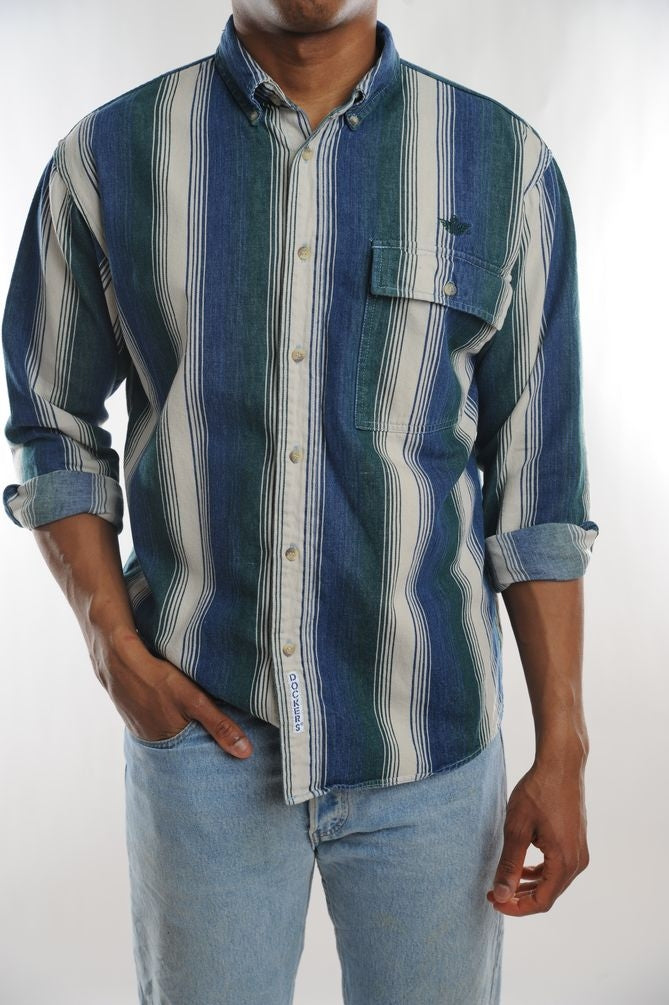Dockers Green Striped Button Down