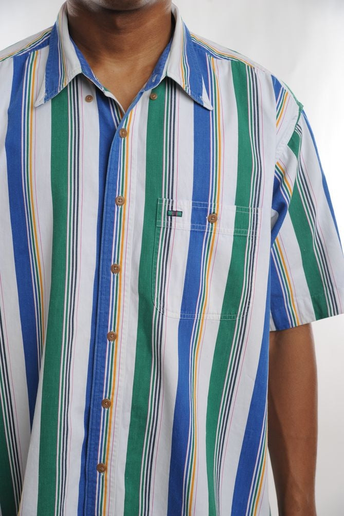 Multi Striped Short Sleeve Button Down