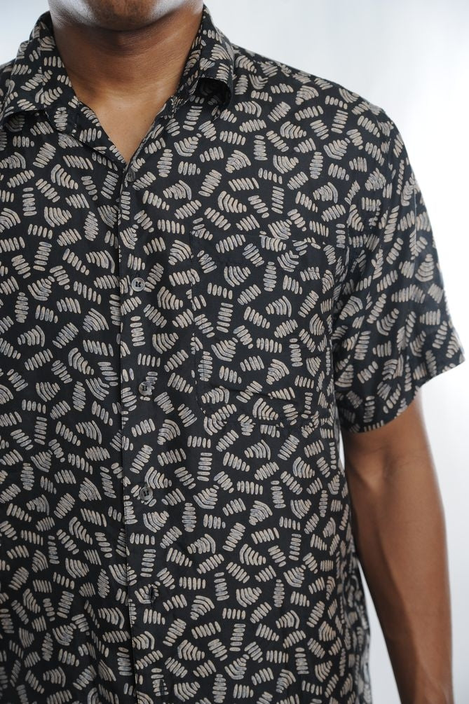 Abstract Shapes Silk Button Down