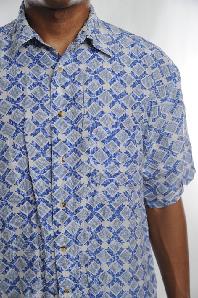 Blue Geometric Silk Button Down