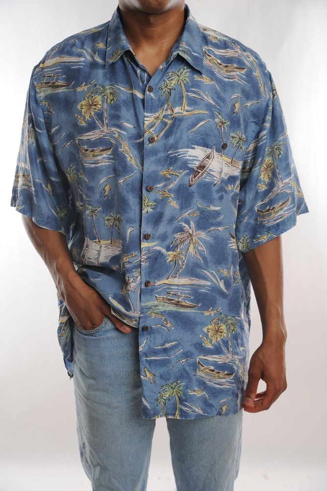 Blue Silk Hawaiian Shirt