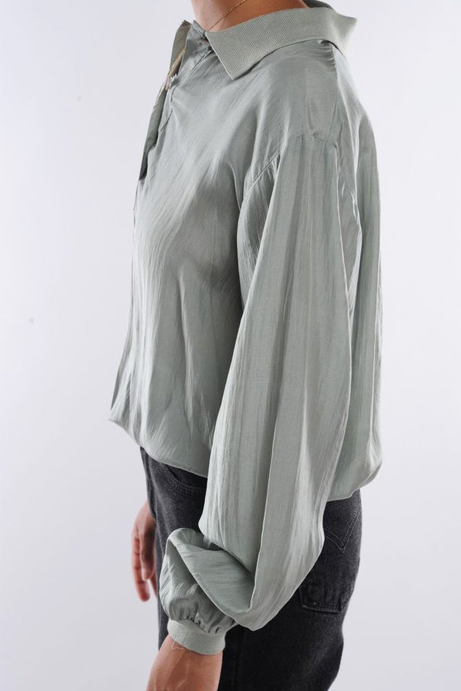 Gray Cropped Silk Blouse