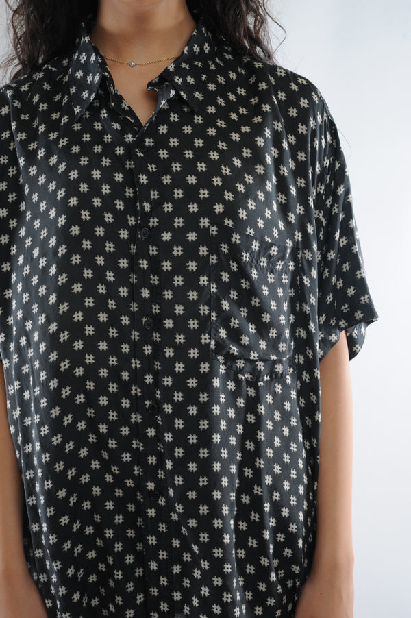 Hashtag Print Silk Button Down