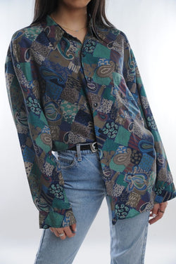 Blue Paisley Silk Button Down