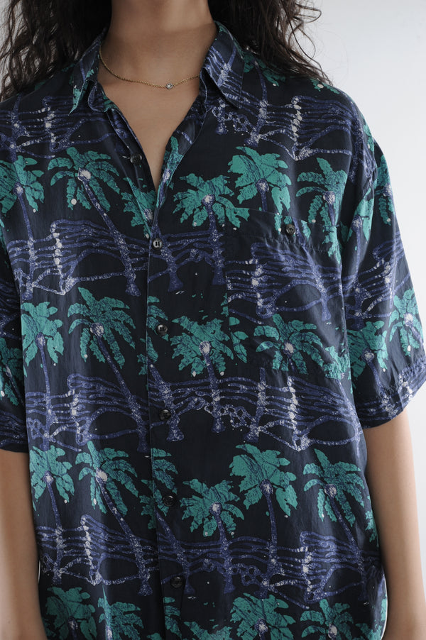 Palm Tree Silk Button Down