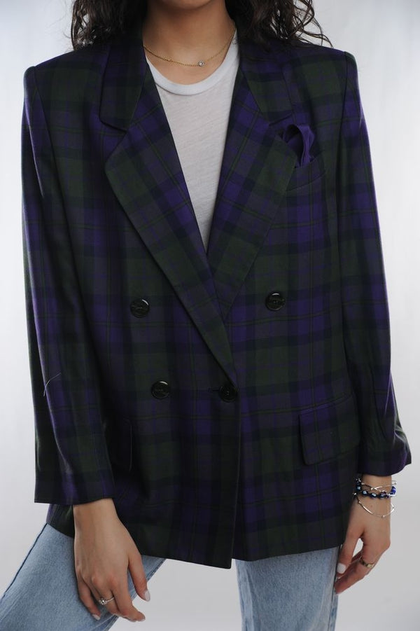 Blue and Green Plaid Blazer