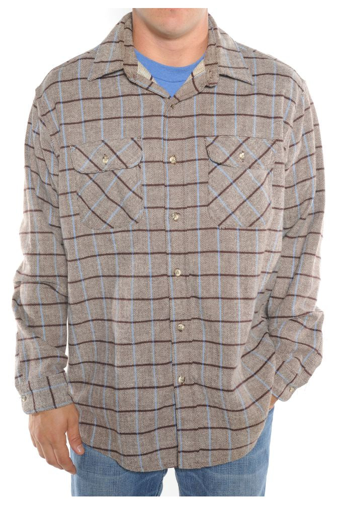 Brown Plaid Flannel Shirt