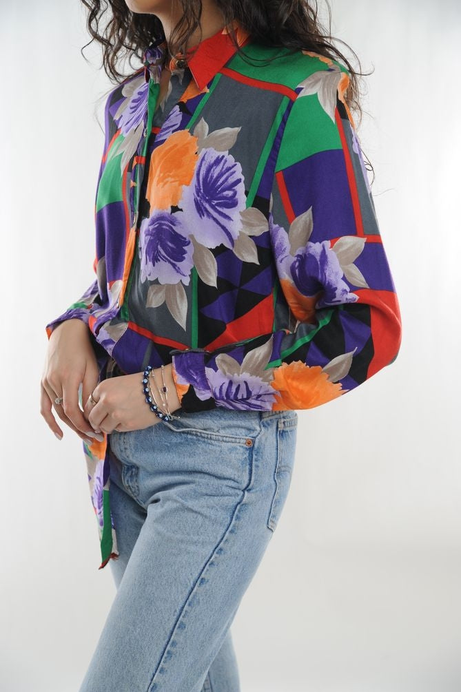Multi Floral Button Blouse
