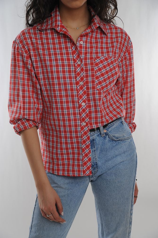Red Plaid Button Blouse