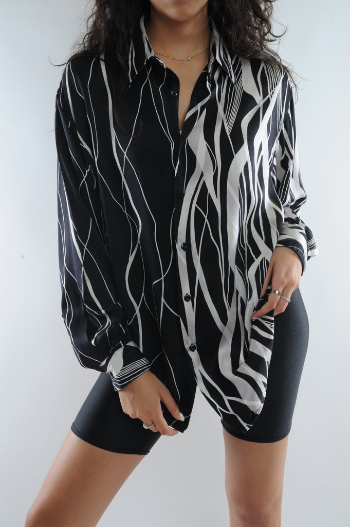 Striped Silk Button Down