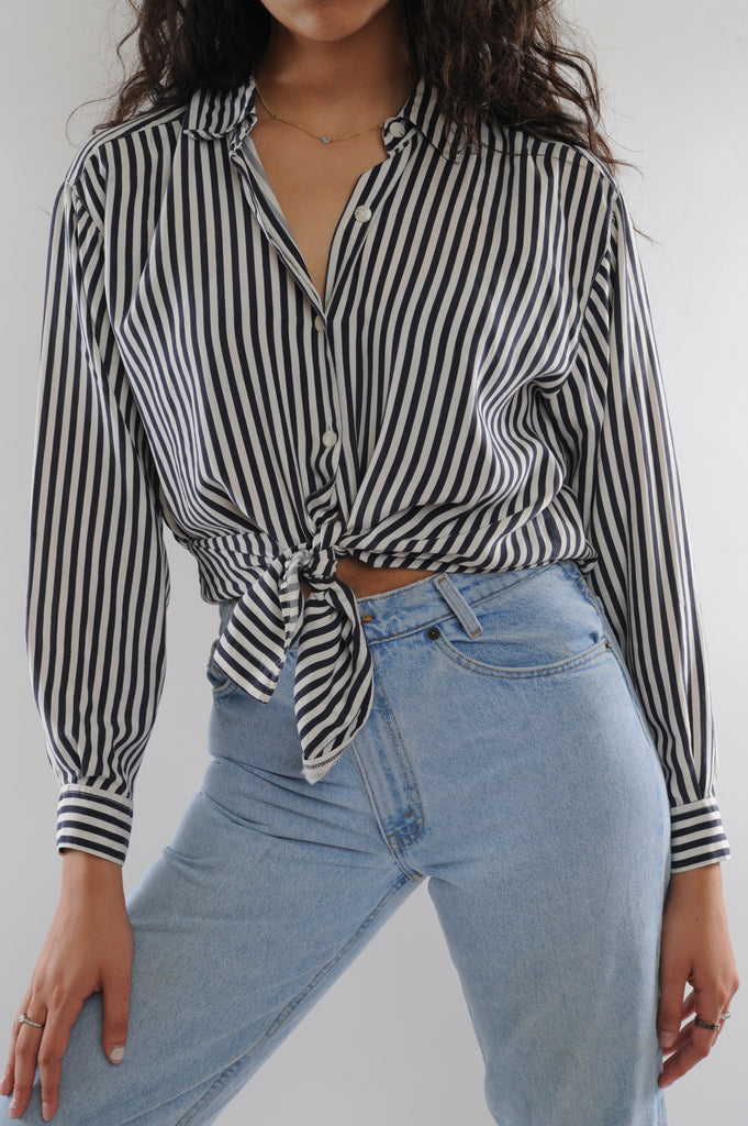 Black Striped Silk Button Down
