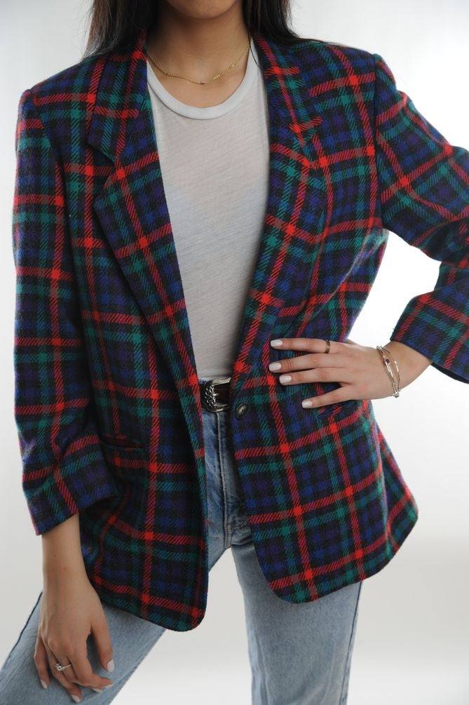 Multi Checkered Wool Blazer