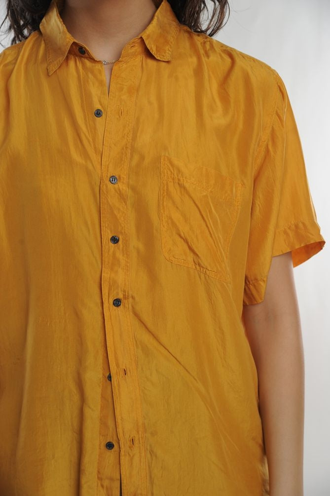 Yellow Silk Button Down