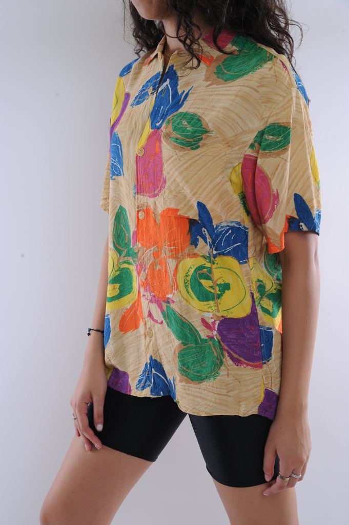 Abstract Florals Button Down Shirt